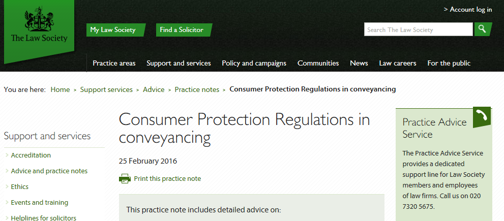 Law Society Consumer Regulations Practice Note